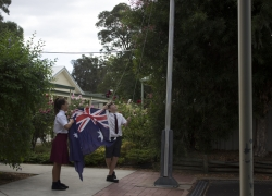 Hoisting the Australian Flag