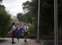 Hoisting the Australian Flag